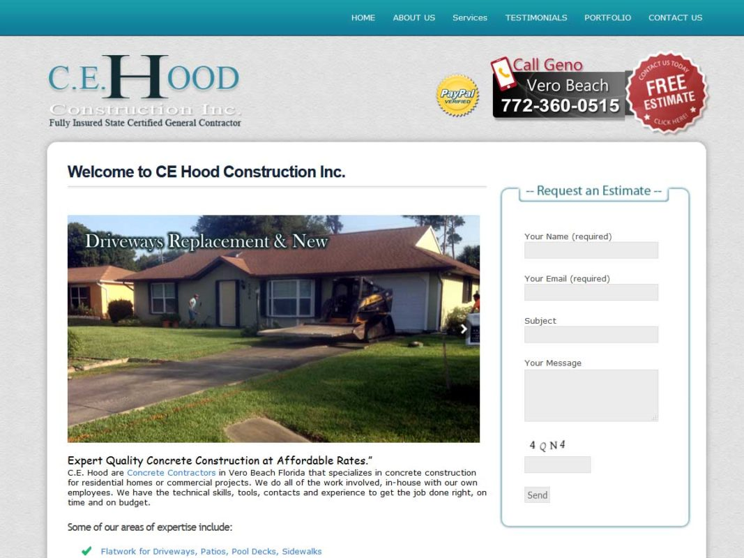 Website design client C.E. Hood Construction