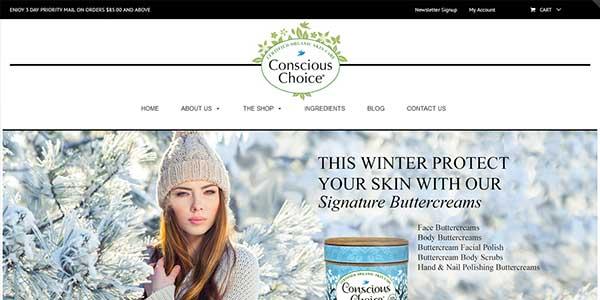 Website design client Make A Conscious Choice skin care