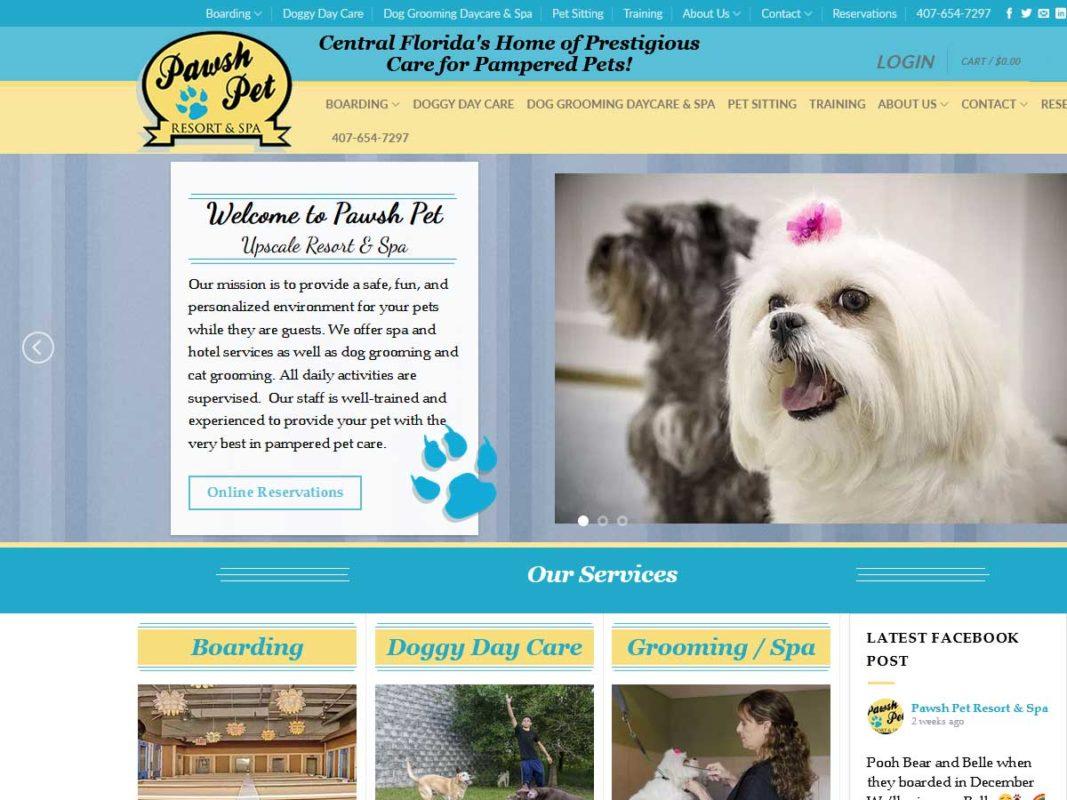 Website design client Pawsh Pet Resort & Spa