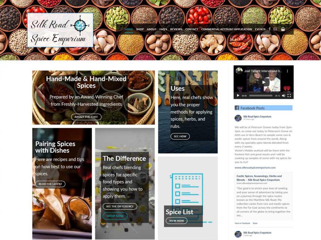 Website design client Silk Road Spice Emporium